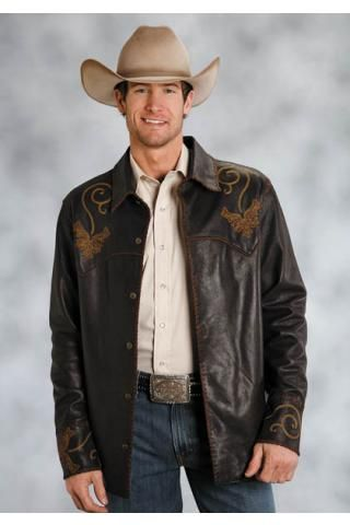 Tumbled And Wash Leather Shirt Jacket Stetson Men's