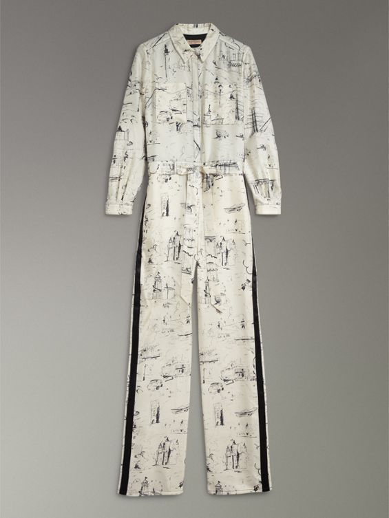 Landmark Print Silk Jumpsuit - White Burberry Sale Eastbay Buy Cheap Affordable Official Site Cheap Price aDXdU7glJR