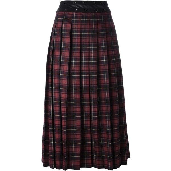 Giamba pleated tartan skirt (£920) ❤ liked on Polyvore featuring skirts, red, tartan plaid skirt, red skirt, red plaid skirt, red tartan plaid skirt and purple pleated skirt