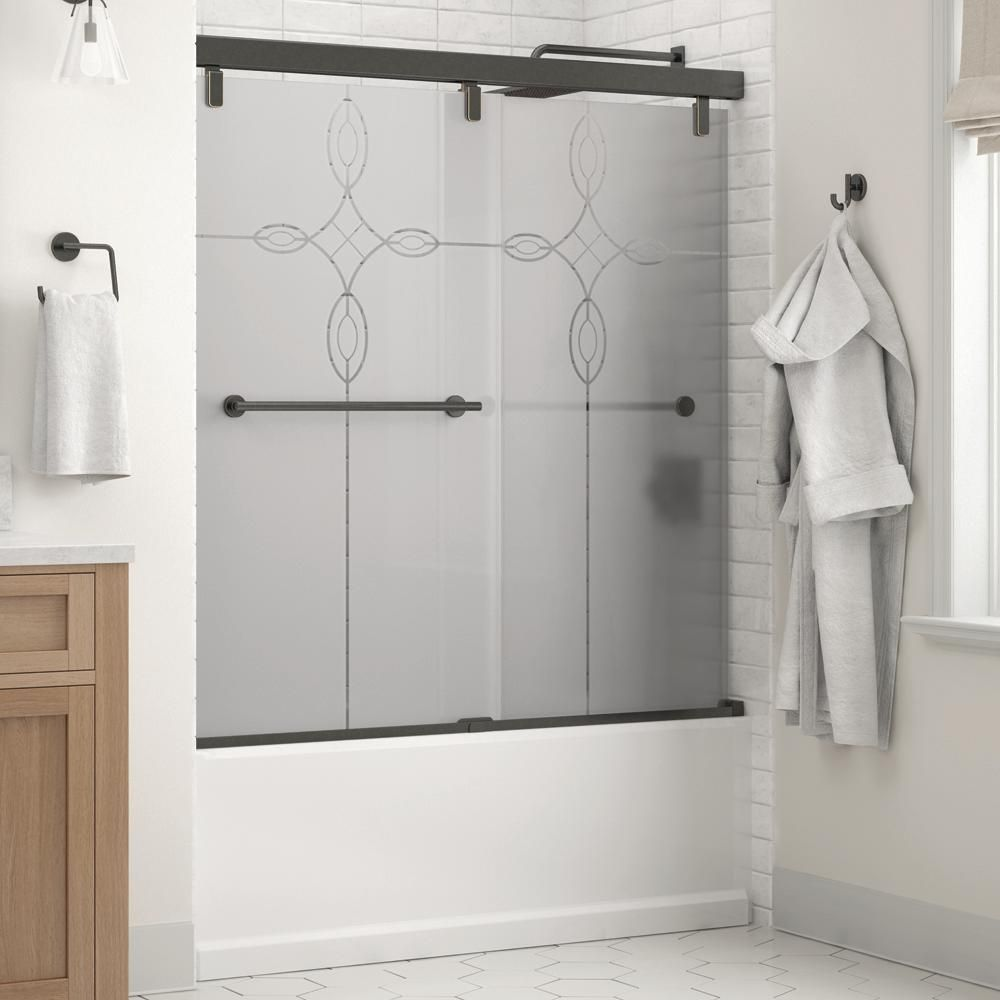 Delta Lyndall 60 X 59 1 4 In Frameless Mod Soft Close Sliding Bathtub Door In Bronze With 1 4 In 6mm Tranquility Glass Sd3442351 Bathtub Doors Shower Doors Shower Door Handles
