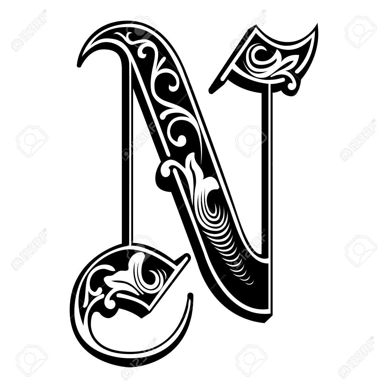 Photo About Garnished English Alphabets Gothic Style Font Letter J Monochrome