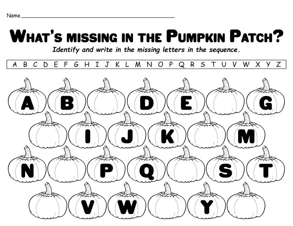 Missing Letters In The Pumpkin Patch Printable Alphabet
