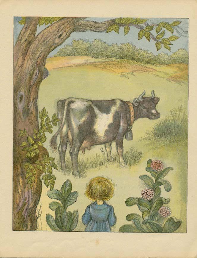 Children S Vintage Book Illustration 1946 The Etsy Illustration Cow Art Book Illustration