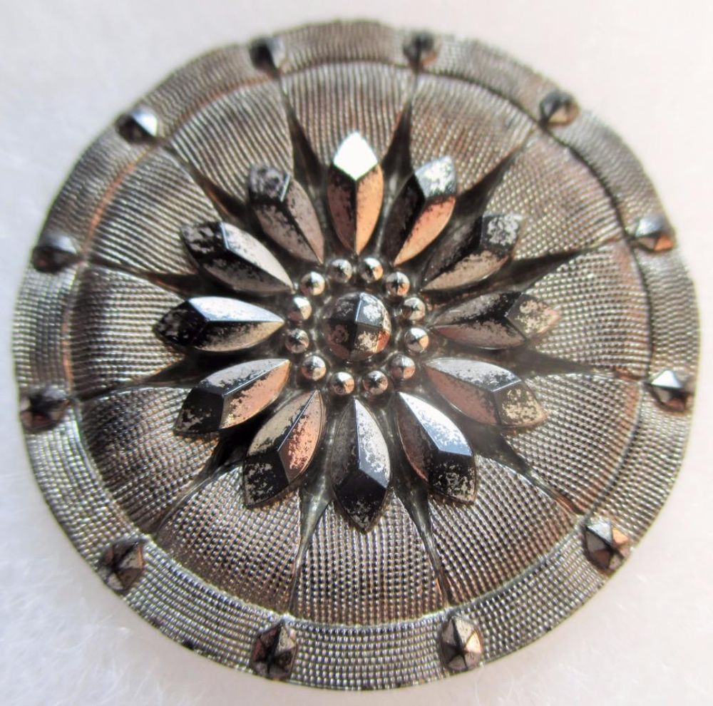 Stunning LARGE Antique~ Vtg Victorian Lacy Black GLASS BUTTON w/ Silver Luster
