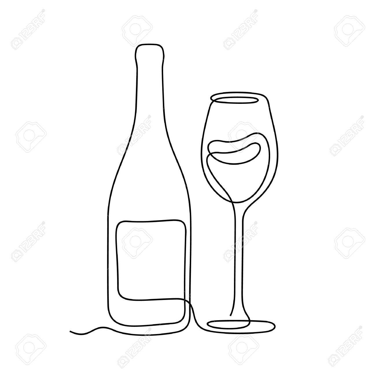 Wine One Line Vector Illustration Stock Vector 137850177 Line Art Drawings Outline Art Line Art Design