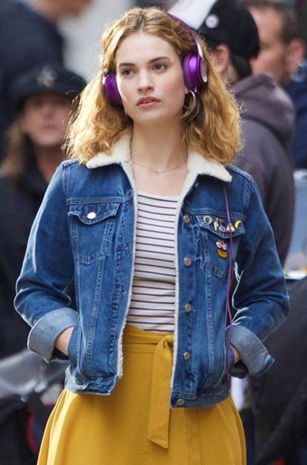 Most Famous Movie Baby Driver And The Beautiful Celebrity Lily James Denim Jacket Lilyjames Babydriver Fashion W Lily James Baby Driver Fashion Lily James