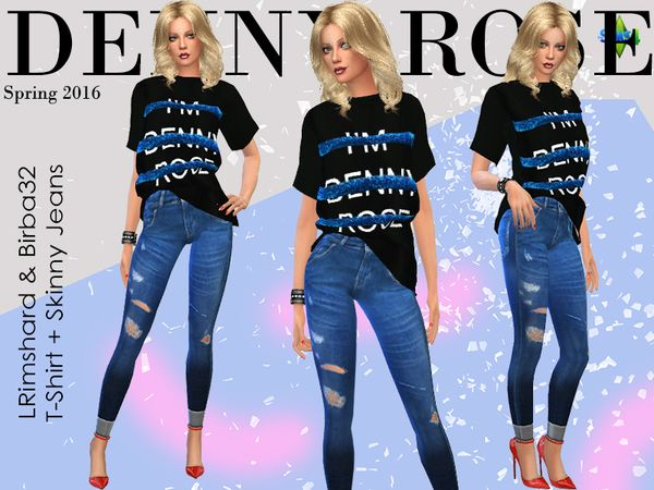 Denny Rose Skinny Jeans by Birba32 at TSR via Sims 4 Updates