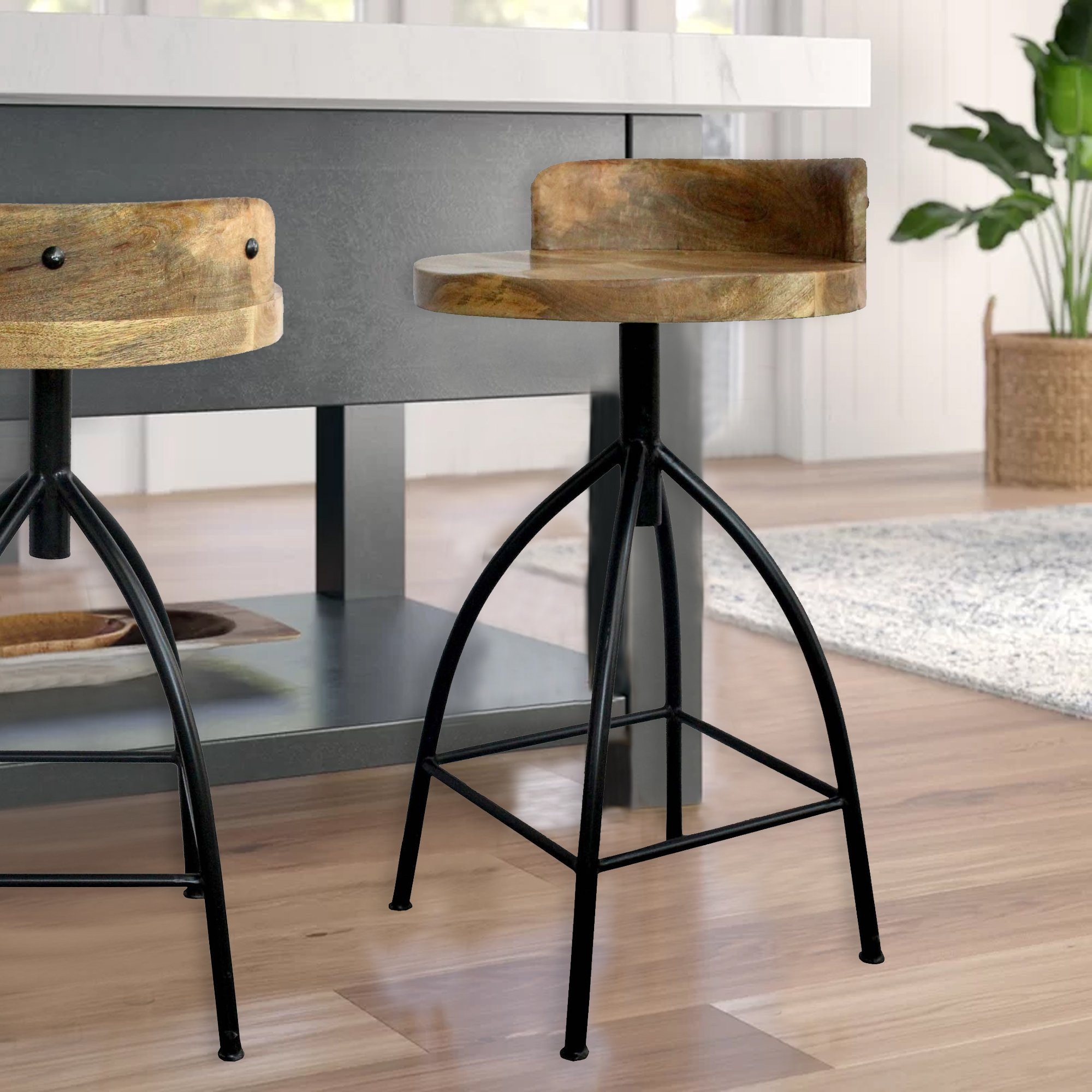 28 Industrial Style Adjustable Counter Stool Black And Brown By The Urban Port Bar Stools Counter Height Stools Counter Height Bar Stools