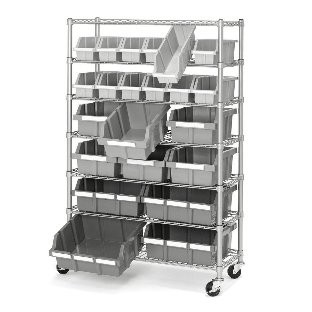 Commercial Garage Rolling 22 Bin Storage Rack Steel Frame Shelving Unit 4 Wheels Storage Bin Racks Bin Rack Garage Storage Systems