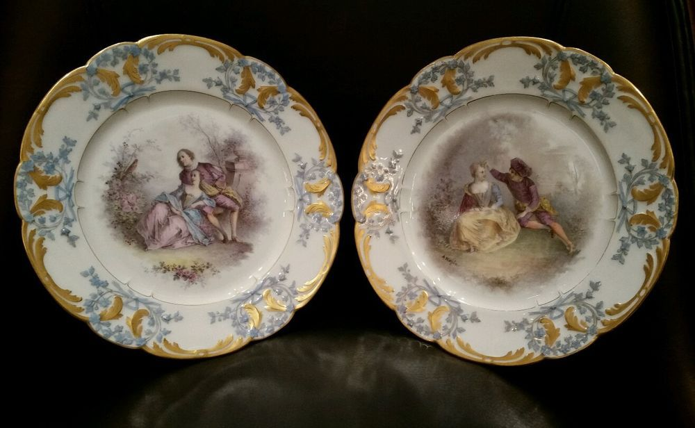 (2) Antique Sevres Chateau Des Tuileries Hand Painted Couple Scene Plate Signed #sevres