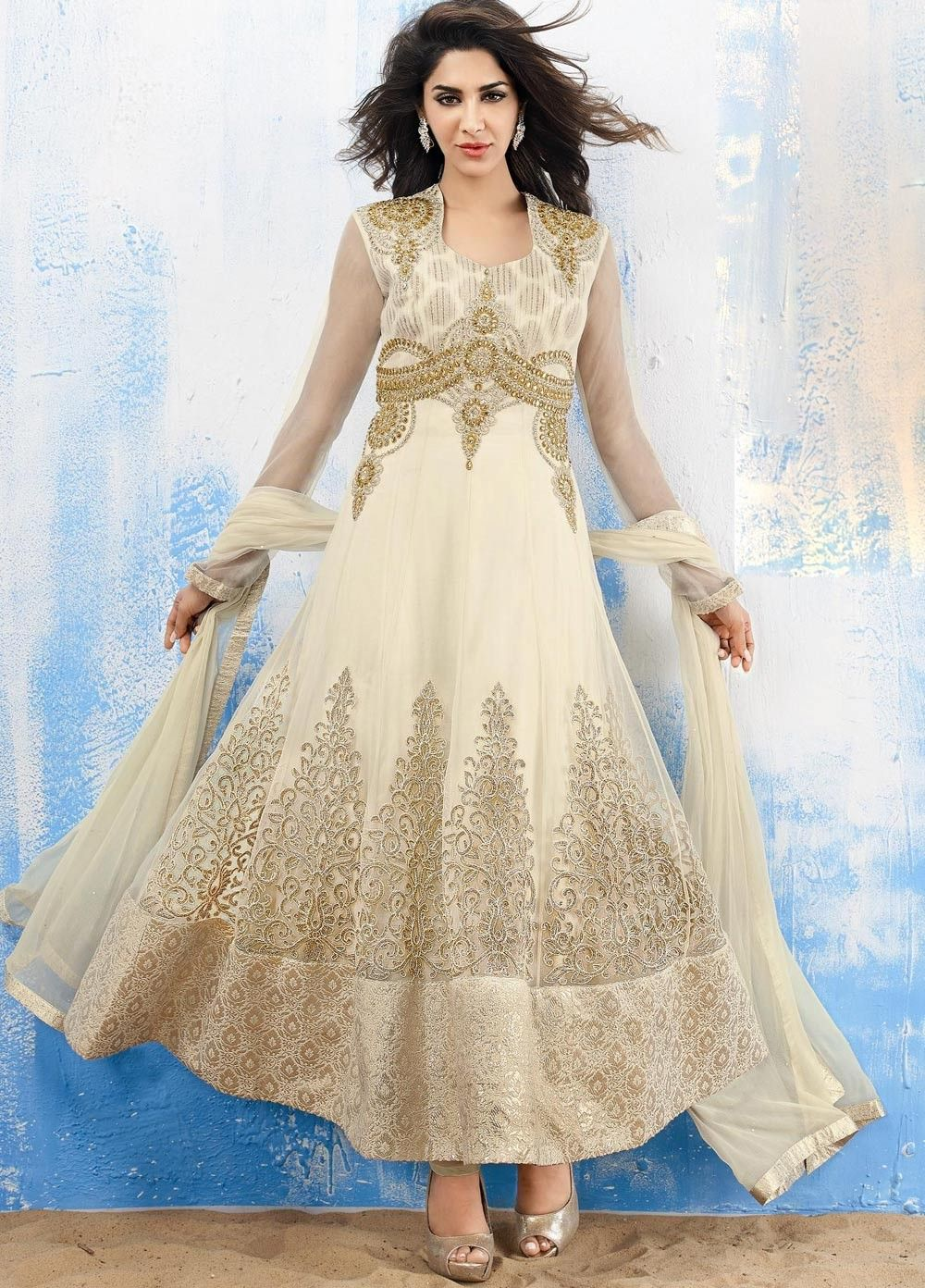 Wedding wear cream anarkali slawar kamij shop at