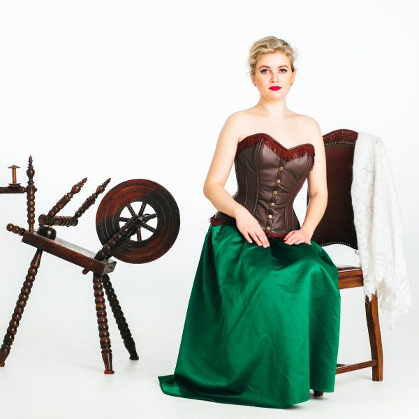589458d61b Full bust corset of real high quality brown suede. Authentic corset on steel  bones