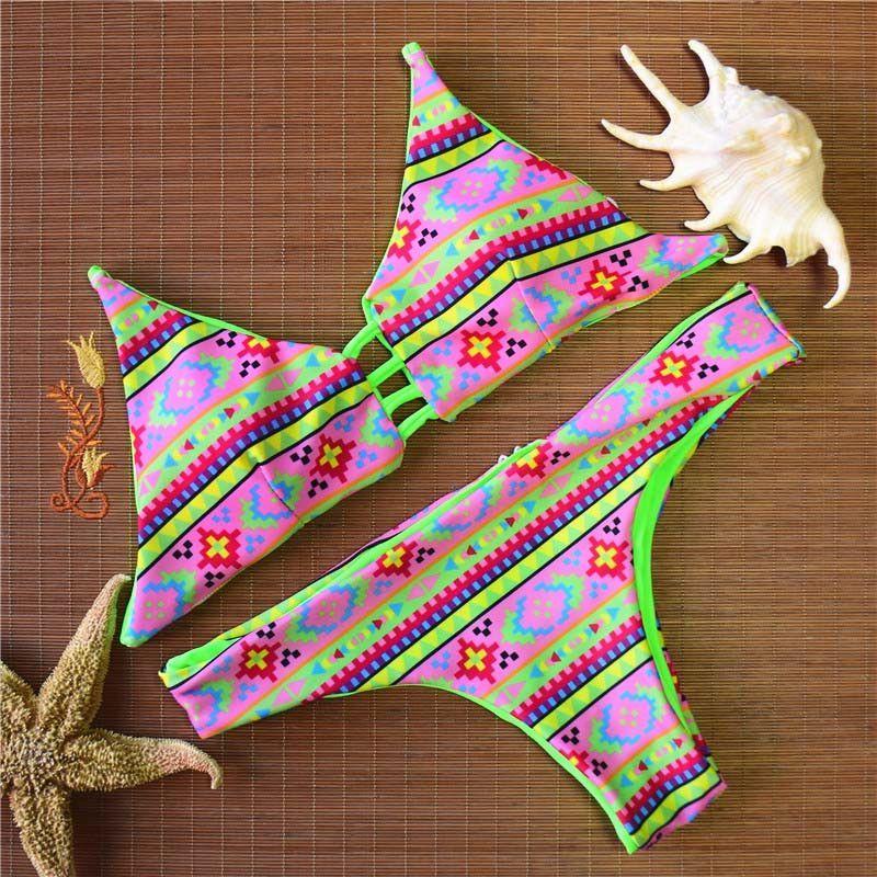 Fashion Sexy Brazilian Bikini 2016 Summer Vintage Swimwear Women Bathing Suit Hot Beachwear Print Bikinis Swim Suit Female 2 PCS