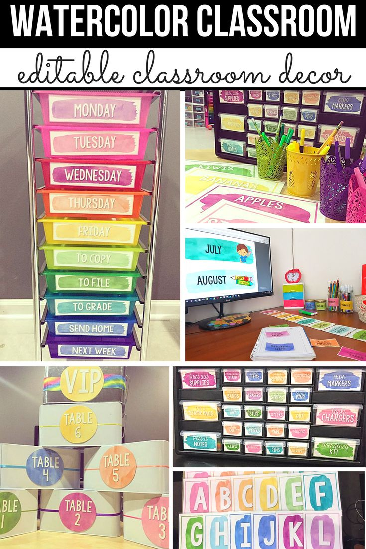 Editable Classroom Decor ~ Watercolor classroom decor bundle editable bright