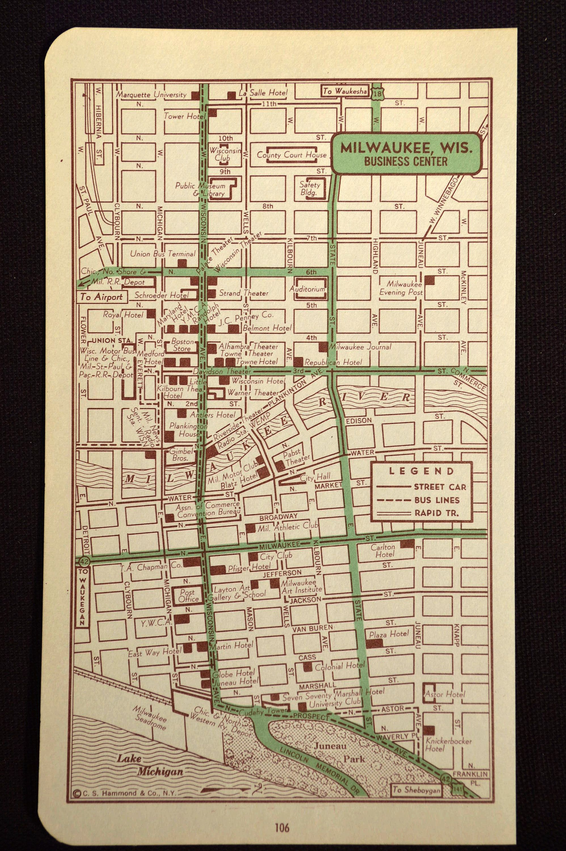 Milwaukee Map Milwaukee Street Map Vintage Map Wall Decor - Vintage milwaukee map