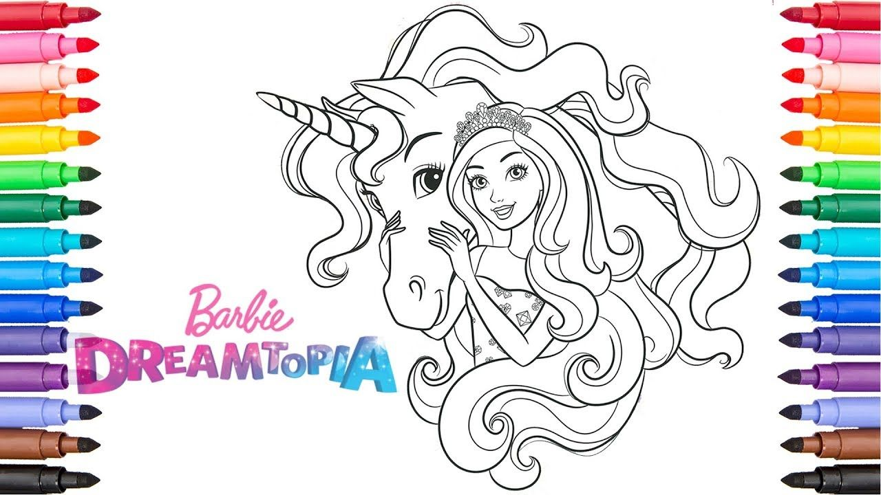 Coloring Barbie And Unicorn Dreamtopia Coloring Pages Candy