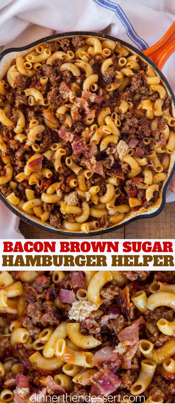 Bacon Brown Sugar Hamburger Helper with a crispy, beefy, bacon filled pasta dish your kids will lov