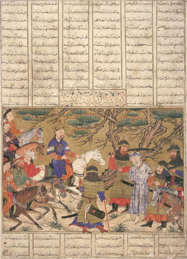 Arts of the Islamic World | Folio from a <i>Shahnama</i> (Book of kings) by Firdawsi (d.1020); verso: Ardashir captures Ardavan; verso: text: Kavus journey to Barbaristan | S1986.103