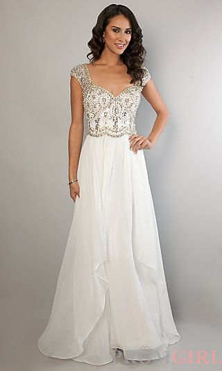 long ivory cap sleeve rhinestone beaded dress at promgirl