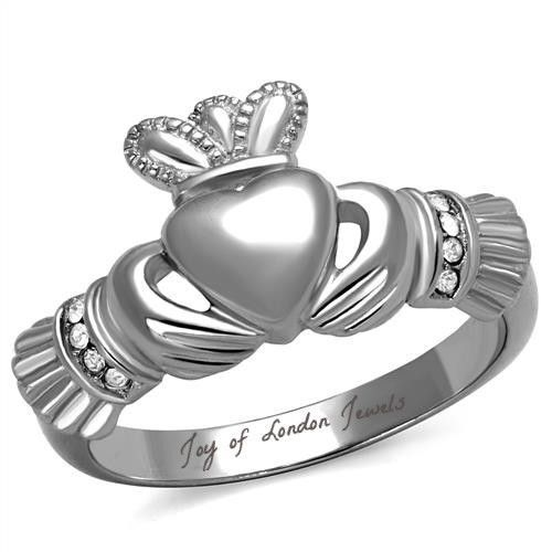 Celtic Irish Heart Claddagh Ring With Diamond Accents Claddagh