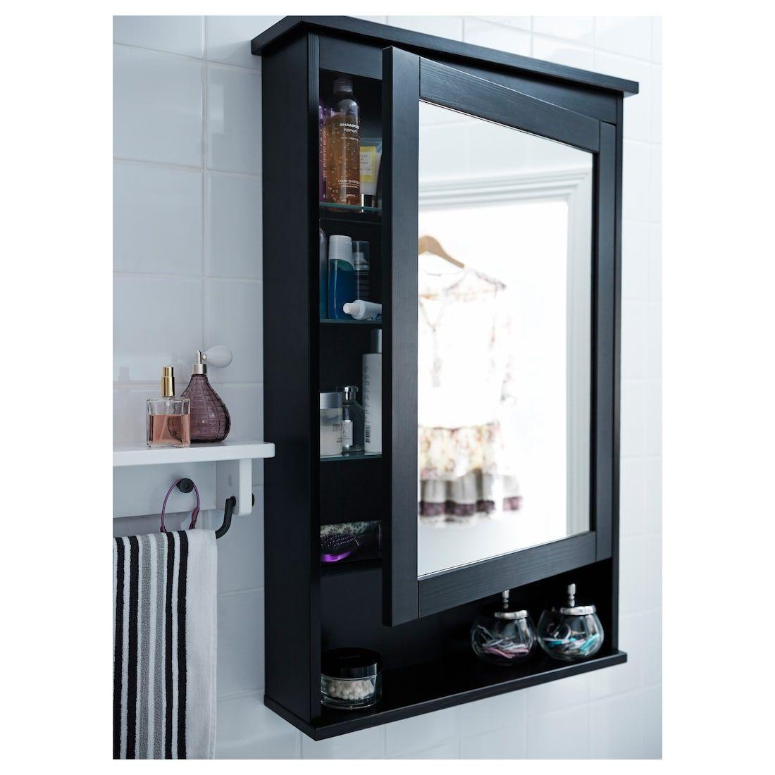 Hemnes Mirror Cabinet With 1 Door Black Brown Stain 24 3 4x6 1 4x38 5 8 Ikea Bathroom Mirror Cabinet Mirror Cabinets Bathroom Design
