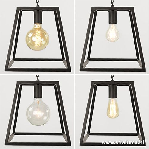 Strakke hanglamp industrieel zwart frame - www.straluma.nl ...