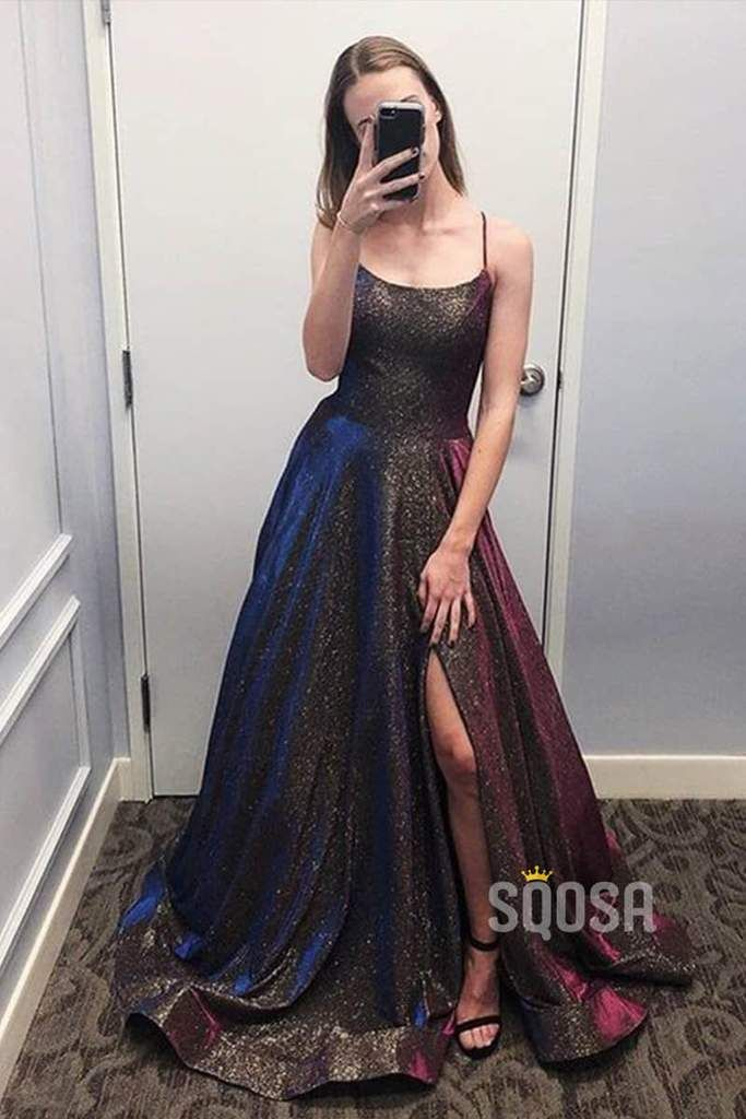 Scoop Spaghetti Straps ALine Long Prom Dress Glitter QP0857 - Sparkle prom dress, Prom dresses, Slit dress prom, Unique party dresses, Sparkly prom dresses, Sparkly party dress - Train Sweep Train SleeveLength Sleeveless Fabric Satin BackDetails Zipper Embellishment Pleat Occasion Prom,Evening,Homecoming,Party,Pageant,Wedding CustomSize EnableSupport >> CustomColor EnableSupport >>