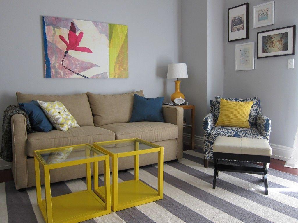 Un salon en gris y amarillo espacios especiales - Decoracion en amarillo ...