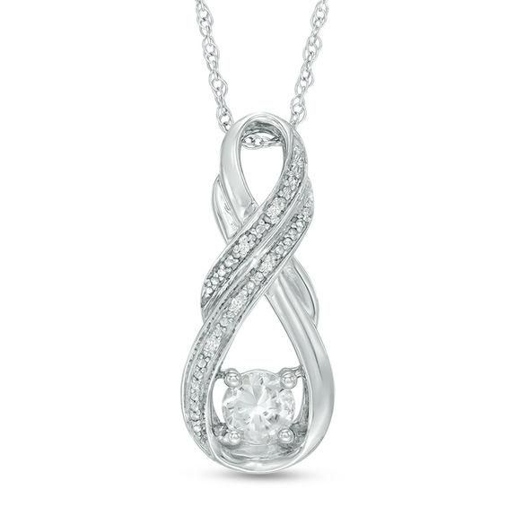 Zales Pear-Shaped Lab-Created White Sapphire and 1/10 CT. T.w. Diamond Frame Drop Pendant and Earrings Set in Sterling Silver I15WgX8Jf