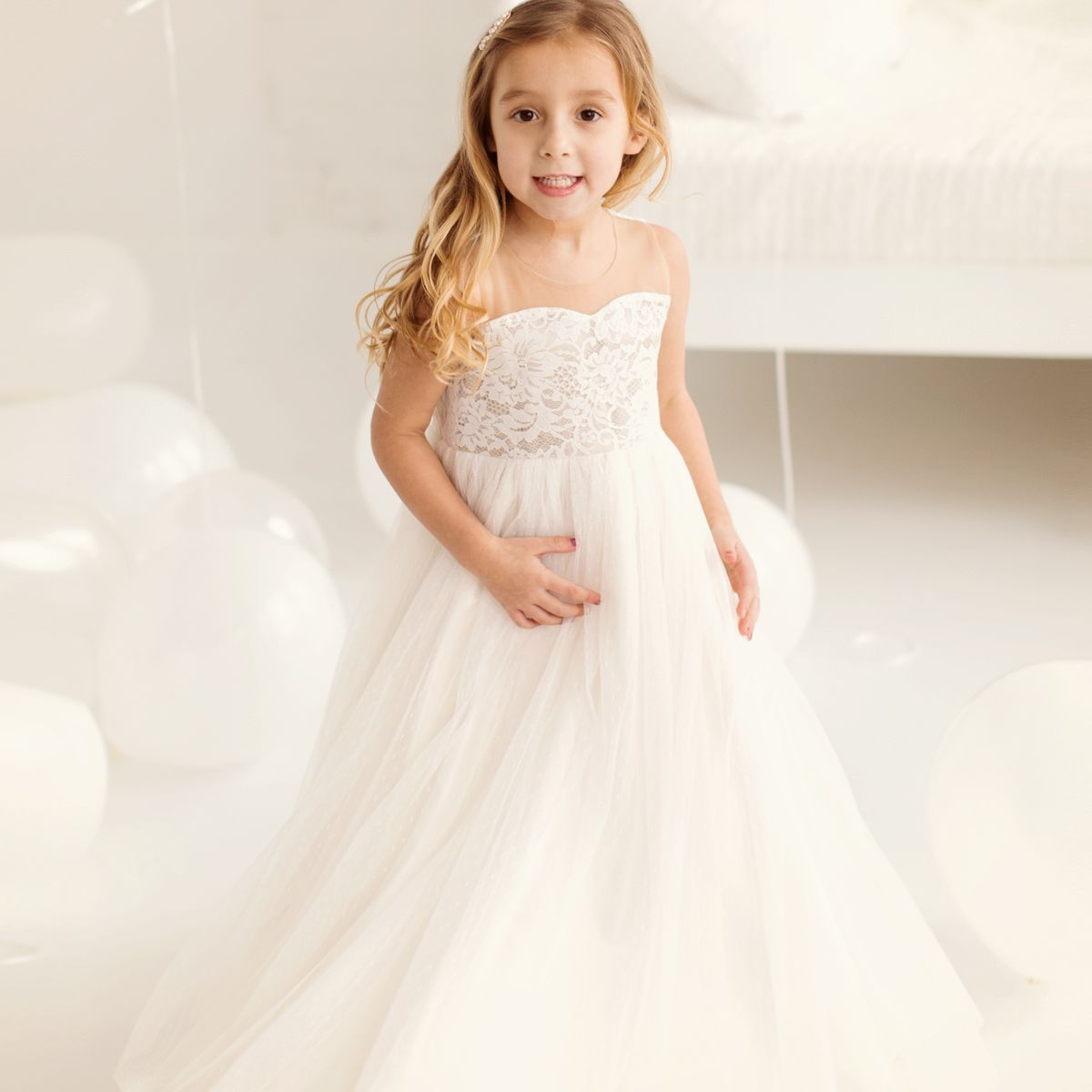 427ed43383 Breathtaking Penelope dress is drop dead gorgeous for flower girls. This  stunning piece features ivory lace bodice with illusion neckline and airy  swiss dot ...