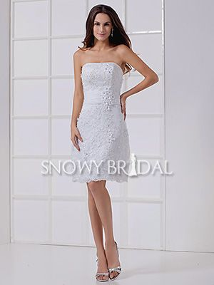 informal white sheath short lace beaded strapless corset