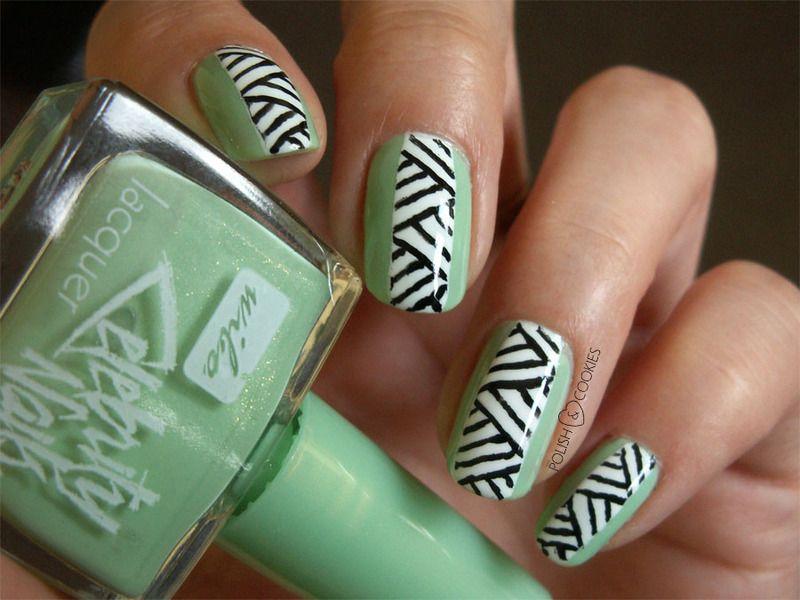 Mint Geometric Nails by Polish & Cookies on Nailpolis… | Uñas ...