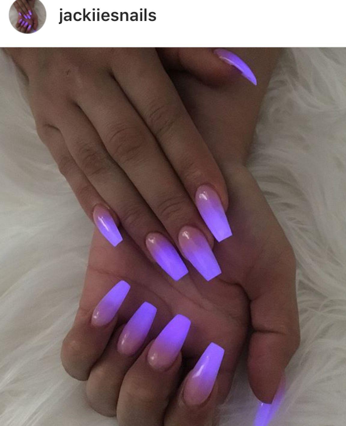 Glow In The Dark Nails Glow Nails Purple Glitter Nails Dark Acrylic Nails
