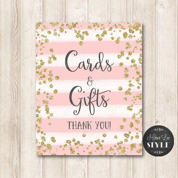 Blush Pink and Gold Confetti Bridal Shower Sign Set Printable Digital File Glitter Wedding Signs Instant Download