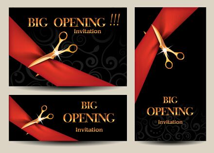 Vector big opening invitation cards set 07 Restaurants \ cafeu0027s - best of invitation card sample for inauguration