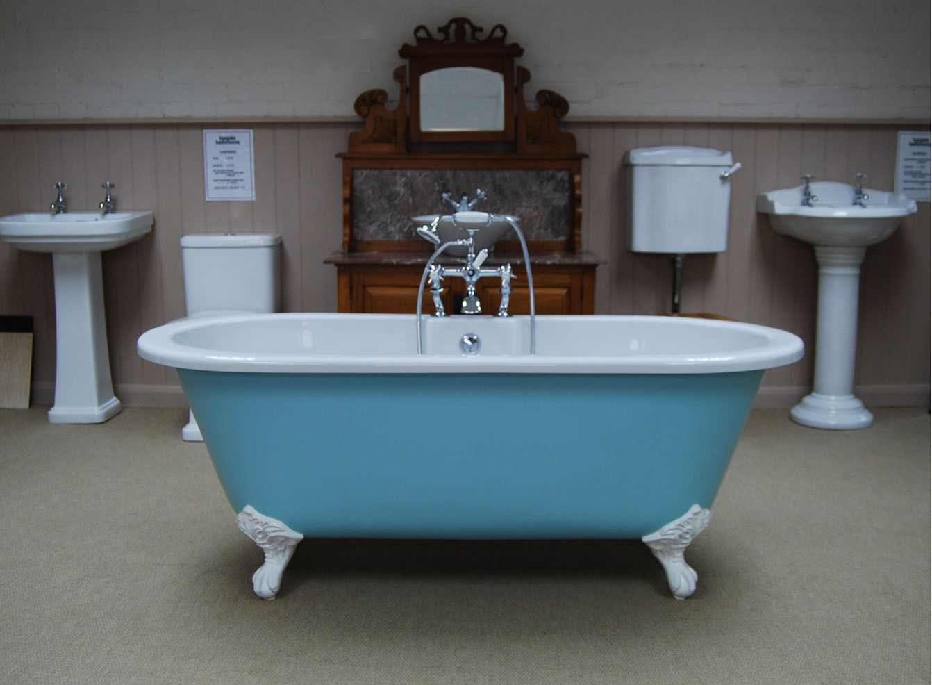 BEAUTIFUL RESIN STONE ROLL TOP BATH PAINTED IN VINTAGE BLUE FARROW ...