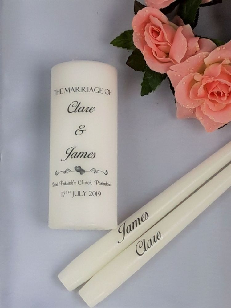 Personalised Wedding Unity candle (add names, church & date) - available in 2 sizes #whitecandleswedding