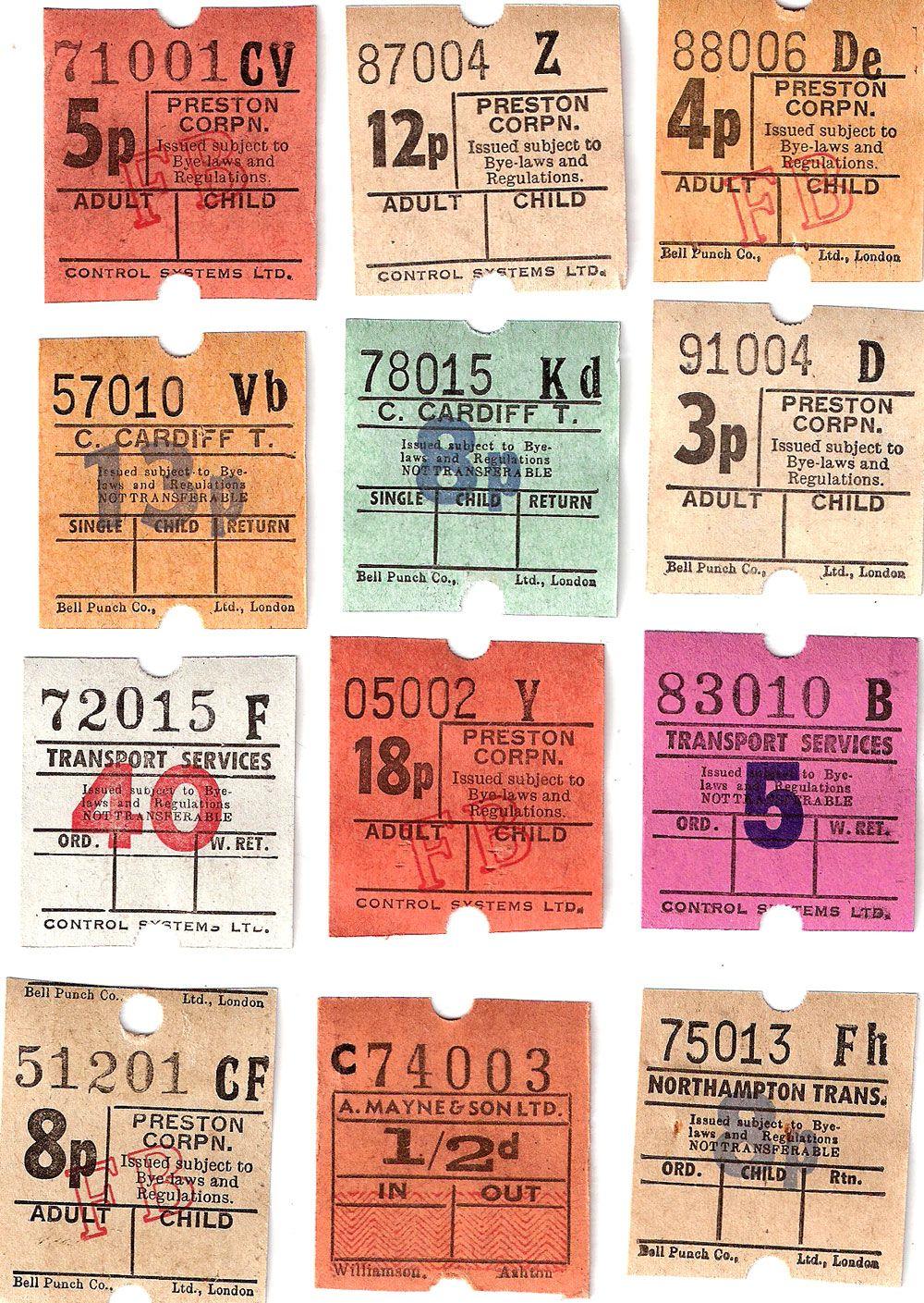 vintage british bus tickets 12 for collage travel journals