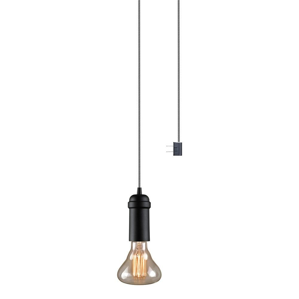Globe Electric Edison 1 Light Matte Black Plug In Or Hardwired Vintage Hanging Socket Pendant 65444 Plug In Pendant Light Linear Pendant Lighting Industrial Pendant Lights
