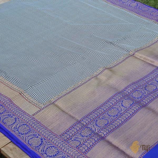85b50a5729 Black-White-Royal Blue Pure Katan Silk Banarasi Kadiyal Handloom Saree -  Tilfi