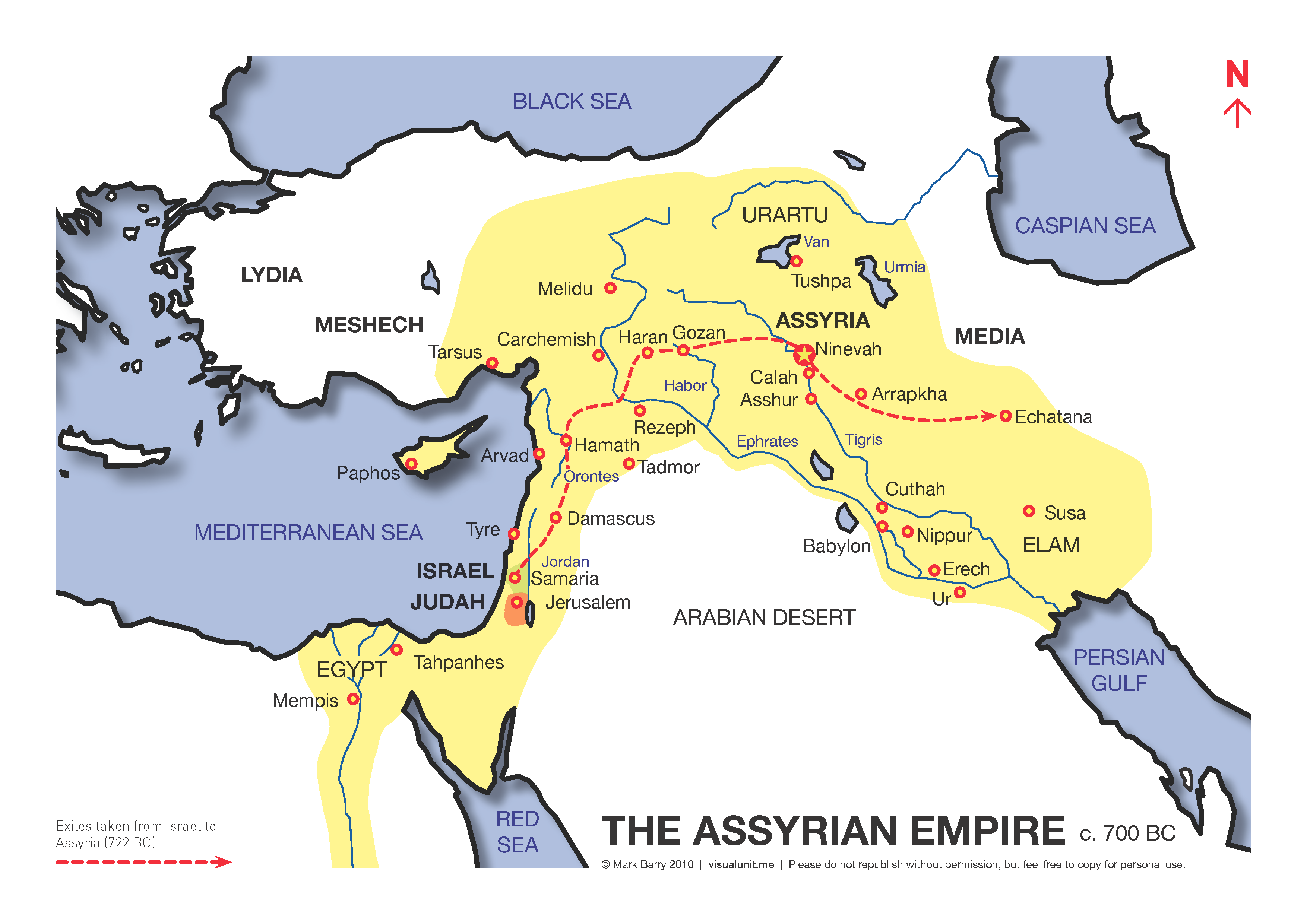 Map of the Assyrian empire circa 700 BC. Mystery of History Volume
