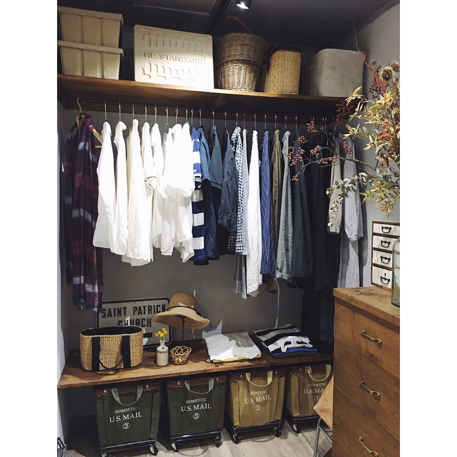 836cc4e526 My Shelf/クローゼット/収納/ドライフラワー/服の収納/漆喰壁...などのインテリア実例 - 2017-07-22 12:22:35 |  RoomClip (ルームクリップ)