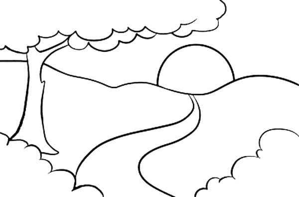 Landscapes Sunrise On Top Of Mountain Landscapes Coloring Pages