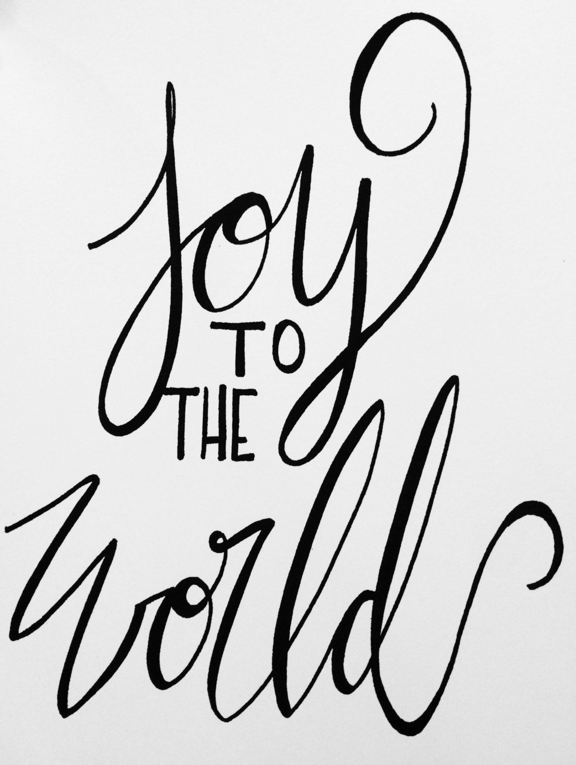 Joy To The World Christmas Decoration Hand Lettered