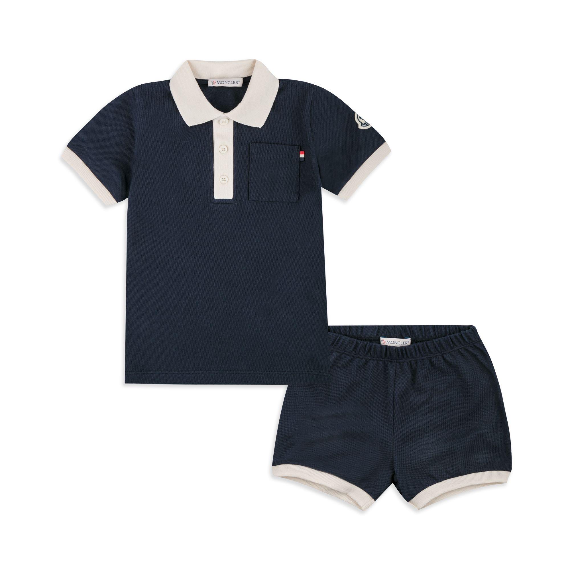 7241773d8 MONCLER Baby Boys Contrast Collar Polo Outfit Set - Navy Baby boys ...
