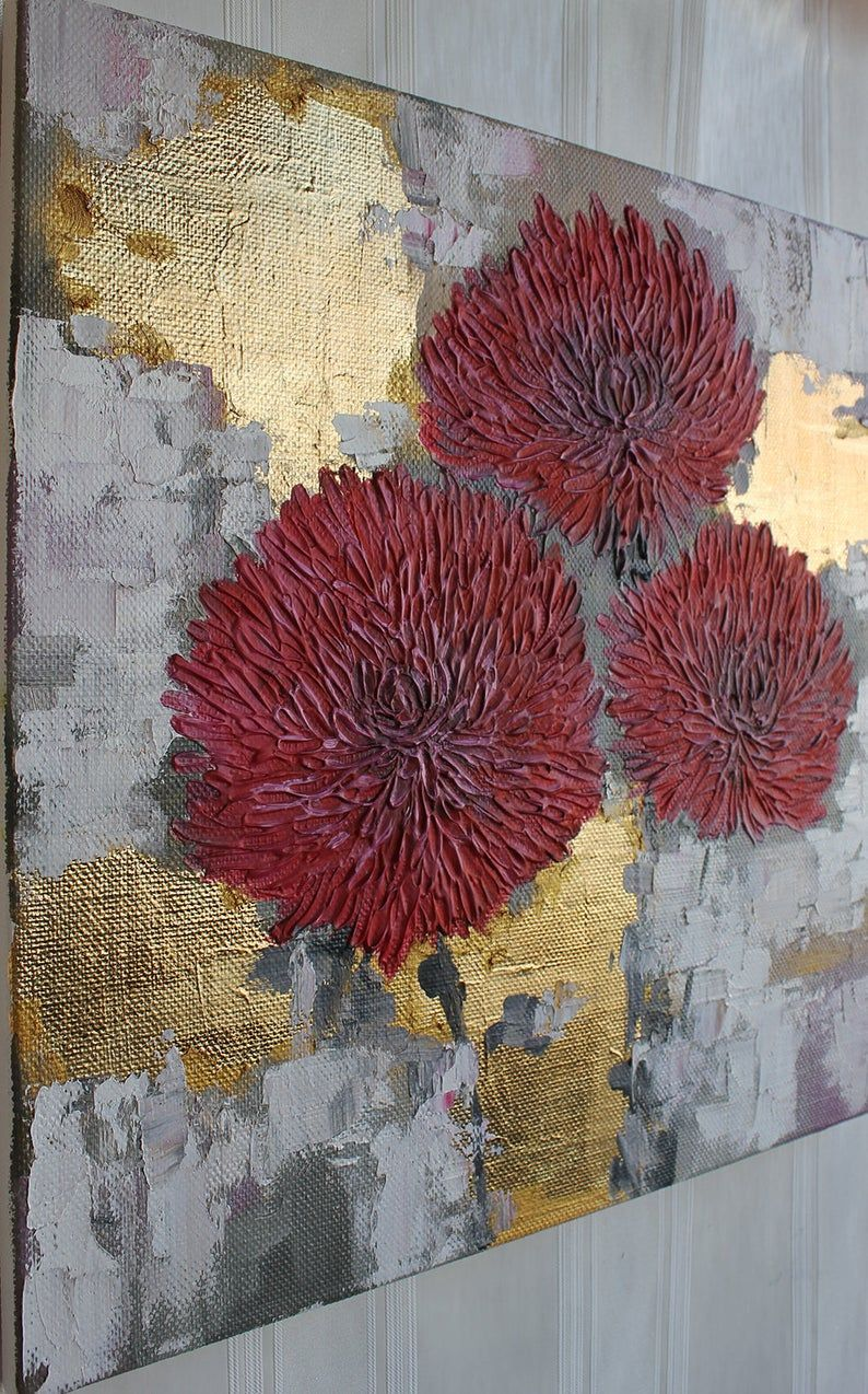 Abstract flower Textured mixed painting Gold leaf