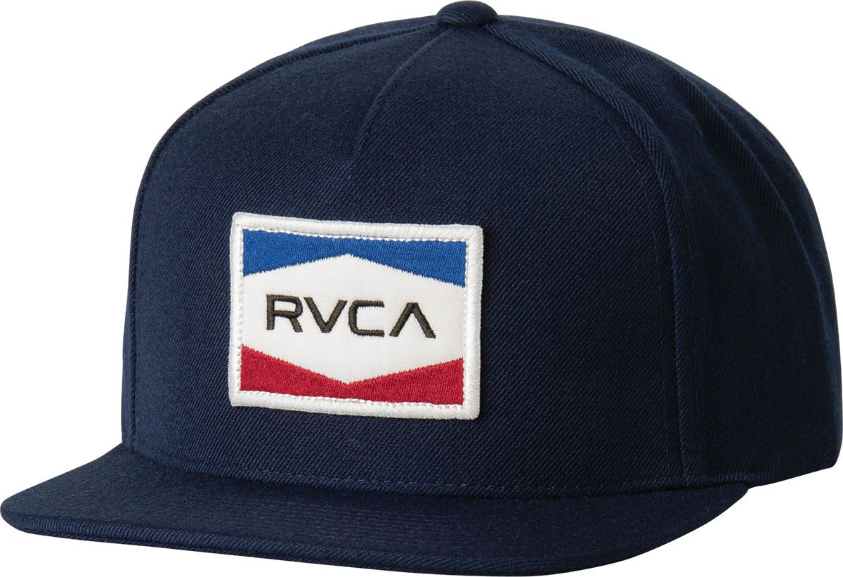 ec1ad4ca6f The RVCA Nations Snapback is a twill 6-panel snapback hat with a RVCA patch  at the front, an adjustable back, and a RVCA woven label at the back.