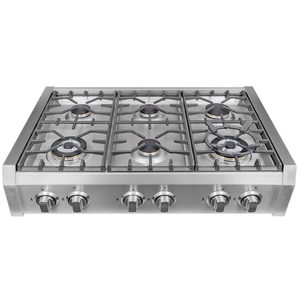 Cosmo 36 In Gas Cooktop In Stainless Steel With 6 Burners S9 6 Kitchen Gas Oven Stove