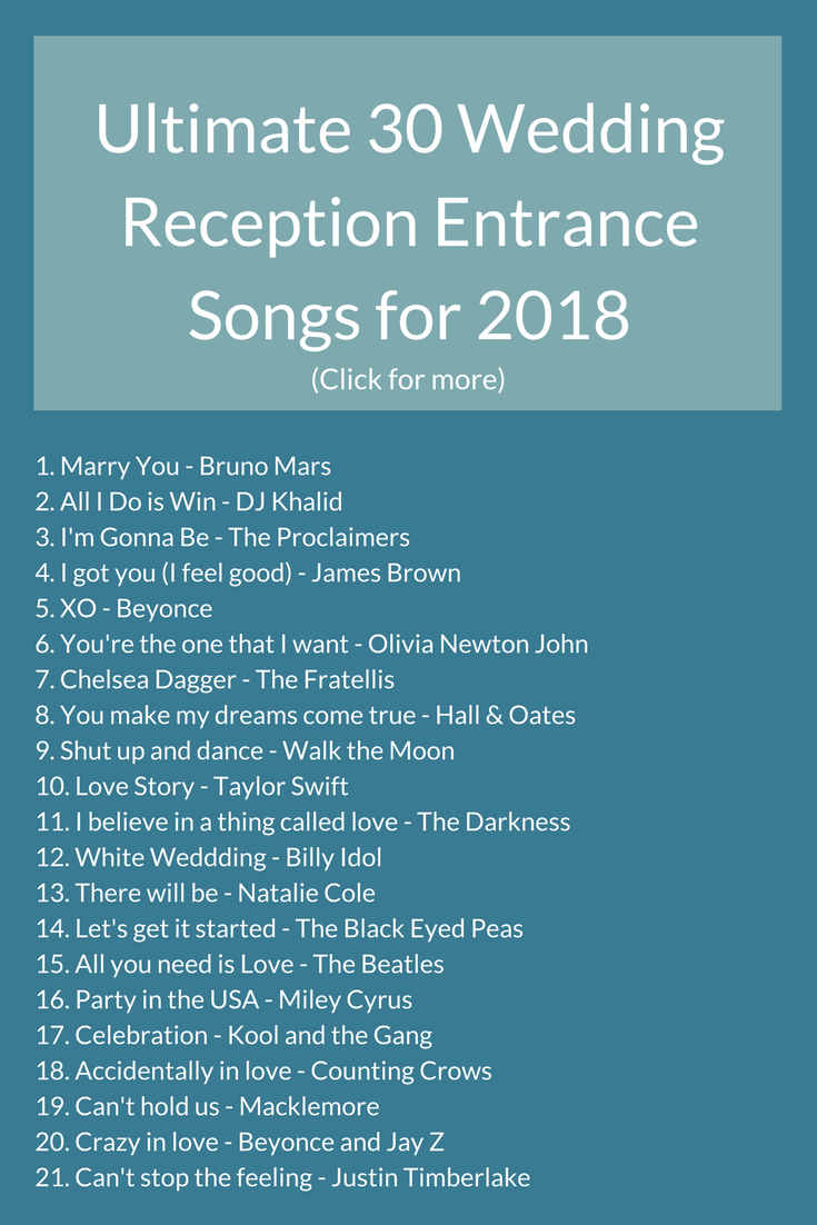 Check Out These 30 Incredible Reception Entrance Songs That Will Get Everyone On Their Feet Reception Entrance Songs Entrance Songs Wedding Reception Entrance