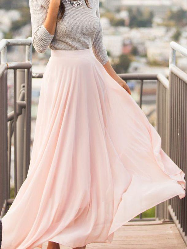 Pink Chiffon Flare Long Skirt Outfit Alltagskleider Kleidung